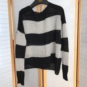 Theory open knit 100% linen bateau neck sweater